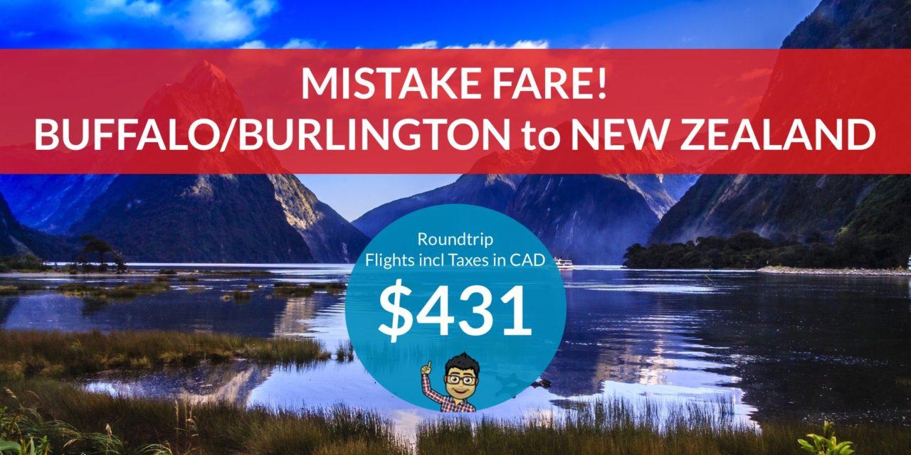 [EXPIRED DEAL] – ERROR FARE: $431 CAD Roundtrip – BUFFALO/BURLINGTON, VT to AUCKLAND, NEW ZEALAND