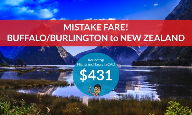 [EXPIRED DEAL] – ERROR FARE: $431 CAD Roundtrip – BUFFALO/BURLINGTON, VT to AUCKLAND, NEW ZEALAND