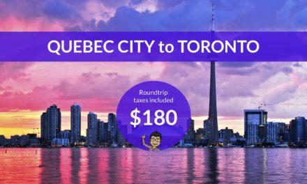 $180 CAD Roundtrip – QUEBEC CITY to TORONTO on WestJet