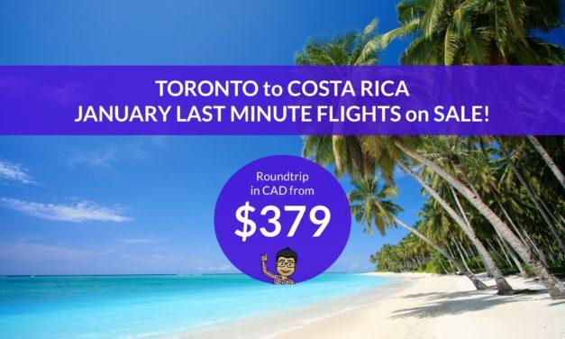$379 CAD ROUNDTRIP – TORONTO to LIBERIA, COSTA RICA – JANUARY DATES!