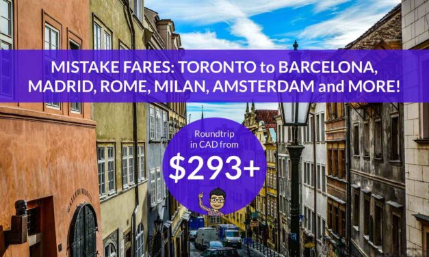 [EXPIRED DEAL] – MISTAKE FARES from $293 CAD on ALITALIA – TORONTO to SPAIN, ITALY, the NETHERLANDS and more!