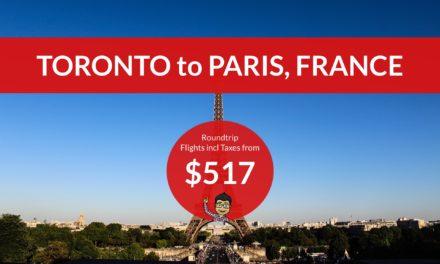 [EXPIRED DEAL] – $517 CAD Roundtrip – TORONTO to PARIS on WESTJET