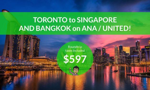 $592 CAD Roundtrip – TORONTO to SINGAPORE and BANGKOK on ANA and UNITED